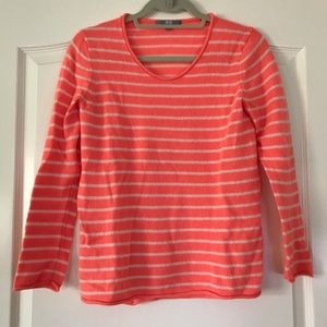Coral striped cashmere sweater